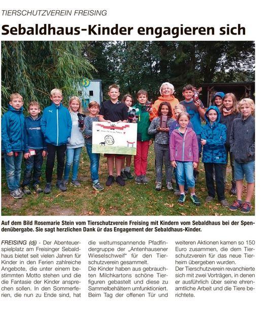 Forum 20180912 Sebaldhauskinder Engagieren Sich Tierschutzverein Freising E V